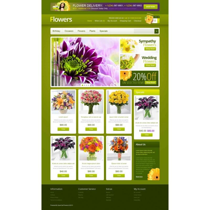 قالب فروشگاه گل تمپلیت مونستر اپن کارت 1.5